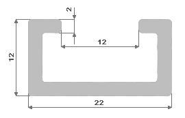 Hliníkový C profil 22.4x12.2
