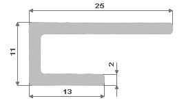 Hliníkový U profil nepr.11X25X13X1,8