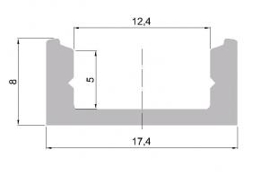 Hliníkový profil pro LED standardní  2m