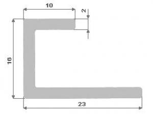 Hliníkový U profil nepr.16X23X10X2