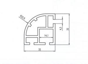ČTVRTSTOJKA 32x32 ELOX Alufinal  l=6000mm